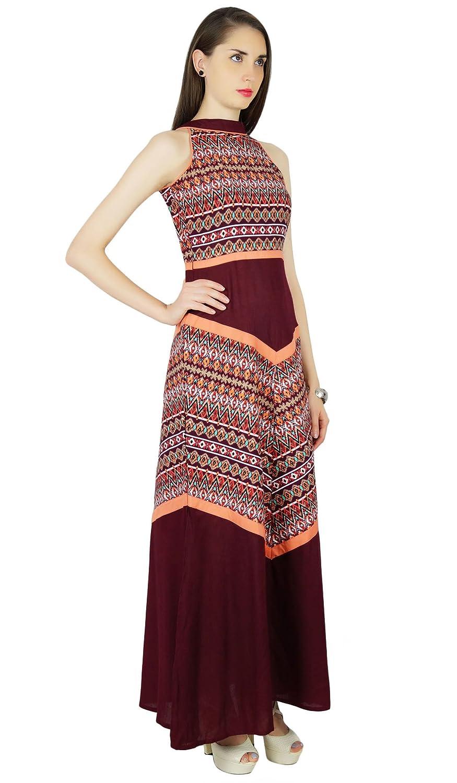 Phagun Verano impresión del extracto del marrón del Vestido Ocasional de Las Mujeres Vestido de Tirantes - Elija el tamaño: Amazon.es: Ropa y accesorios