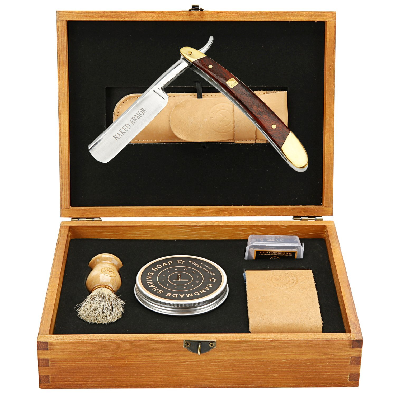 Amazing STRAIGHT RAZOR SHAVING KIT ~ Quality Shave at Home ~ Samurai Strong SHARP Edge Japanese Steel Blade + Leather Strop, Sleeve, Soap, Badger Friendly Brush Set, Balanced Wood Handle, Dad Gift Box