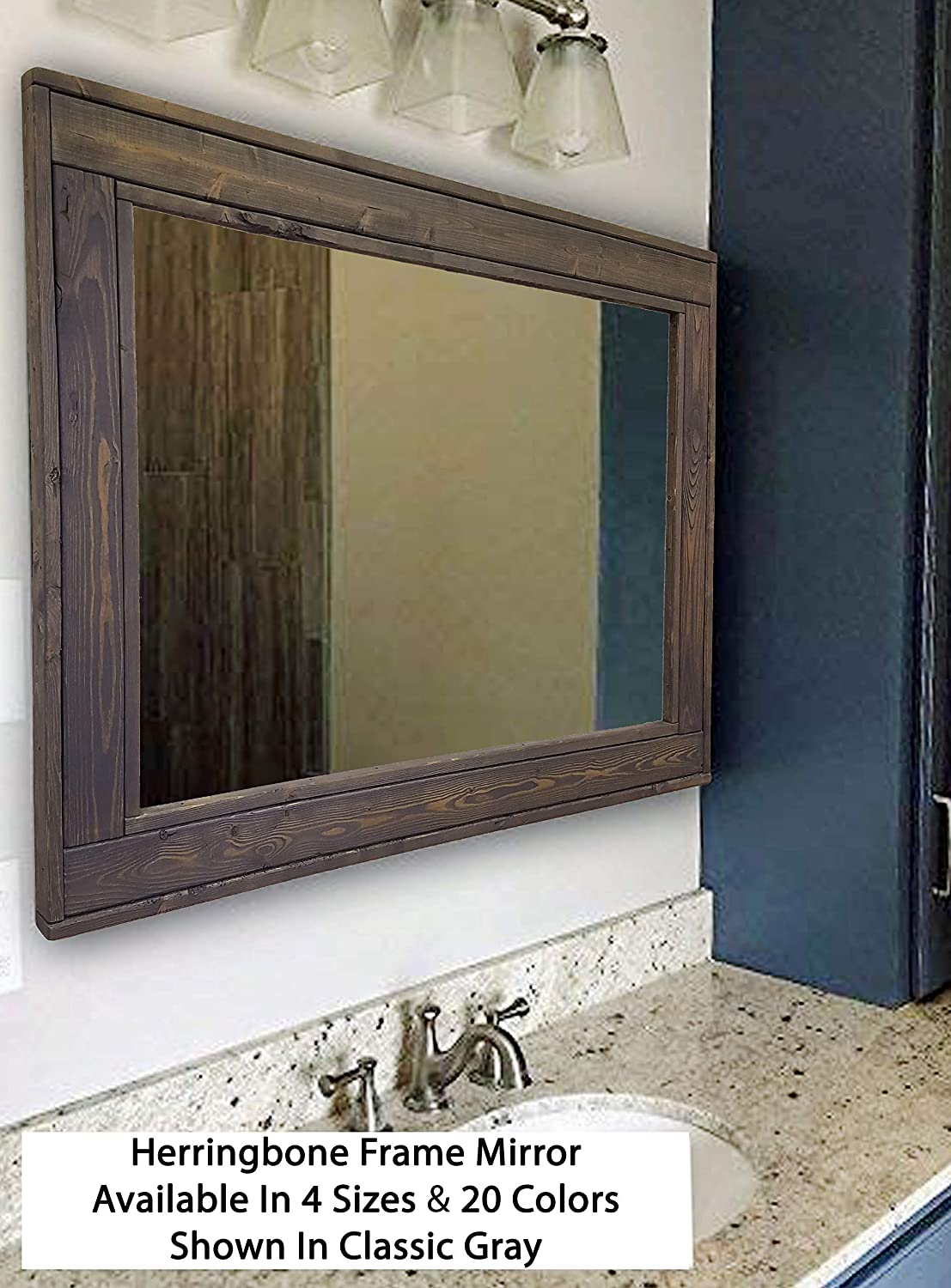 Available in 4 Sizes and 20 Stain colors: Shown in Classic Gray Rustic Decor Herringbone Reclaimed Wood EX LARGE Framed Mirror Bathroom Vanity Mirror Mirror Wall Mounted