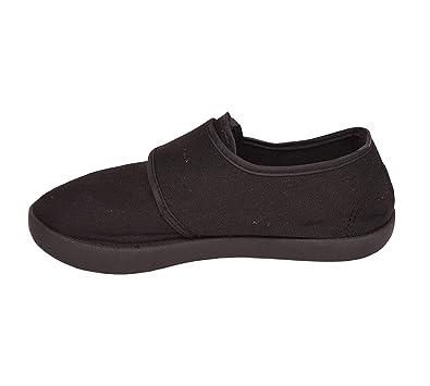 e6b83b8b367 Mamanji Boys Girls Kids Adults Black School Uniform Pe Pumps Unisex Gym  Plimsolls Trainers Velcro Slip On Elasticated Gusset Shoes Anti Slip Anti  Mark  ...