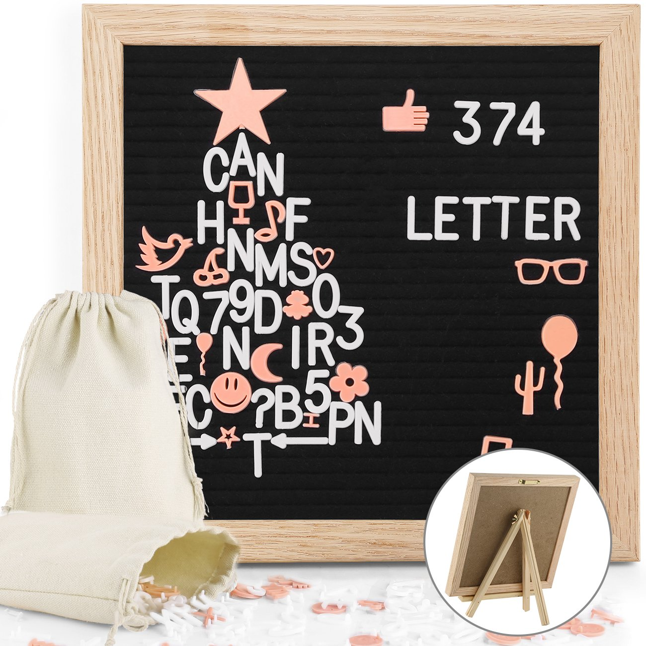 Black Felt Letter Board 10x10 Inches Rustic White Wood Farmhouse Vintage Frame, Antique Changeable Message Boards with 407 Pre-Cut Plastic Letters Cursive Words, and 2 Canvas Organizer Bags, Easyacc 12LBSMW