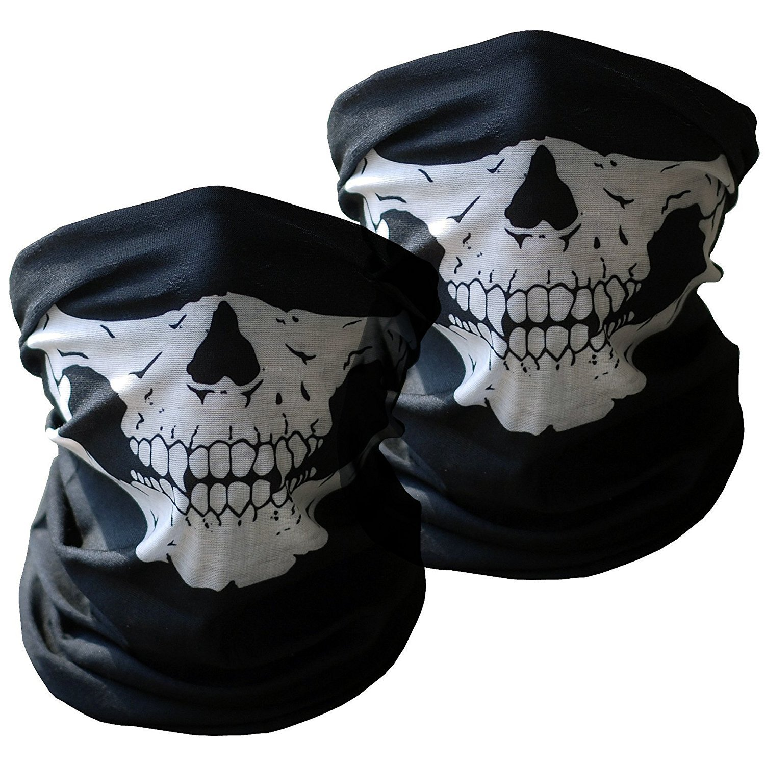 Motorcycle Face Masks 3 Pieces Xpassion Skull Mask Half Face for Out Riding Motorcycle Black