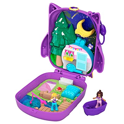 Polly Pocket Pocket World Owlnite Campsite Compact, 2 Micro Dolls, Accessories: Toys & Games