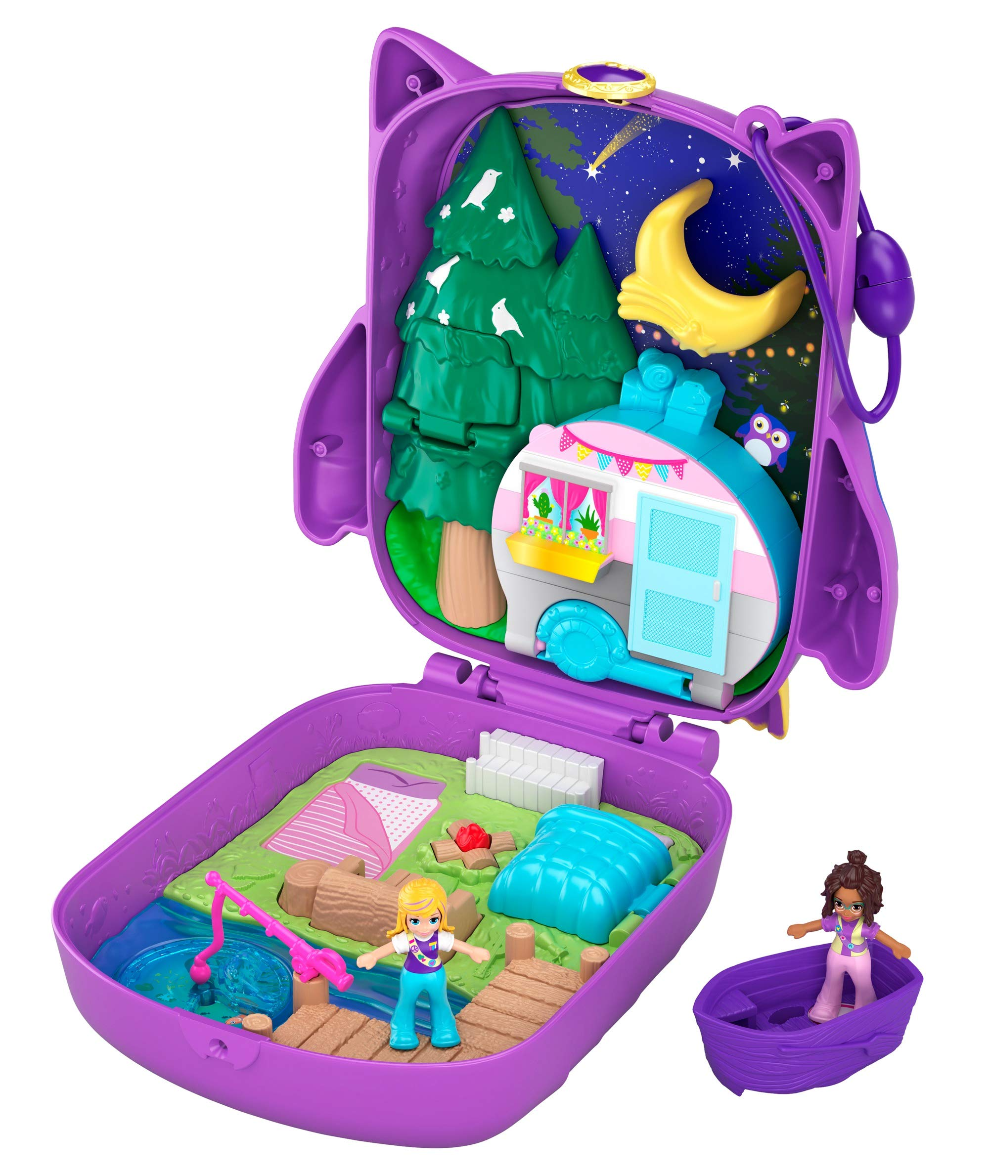 Polly Pocket Pocket World Owlnite Campsite Compact with Fun Reveals, Micro Polly and Shani Dolls, Boat and Sticker Sheet for Ages 4 and Up [Amazon Exclusive]