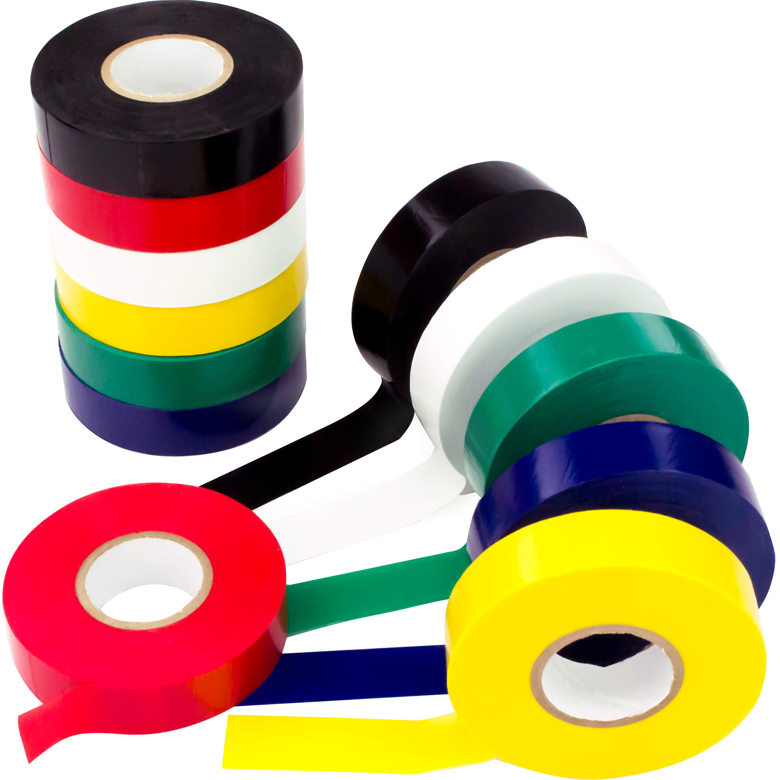Weather-Resistant Colored Electrical Tape 60 Jumbo Roll 12 Pack by Nova Supply. Color Code Your Electric Wiring Safely with Indoor/Outdoor PVC Vinyl, UL Listed to 600V, for a Variety of Taping Needs by Nova
