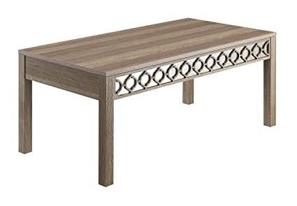 OSP Designs Office Star Helena Coffee Table With Mirror Accent Panel, Greco  Oak Finish