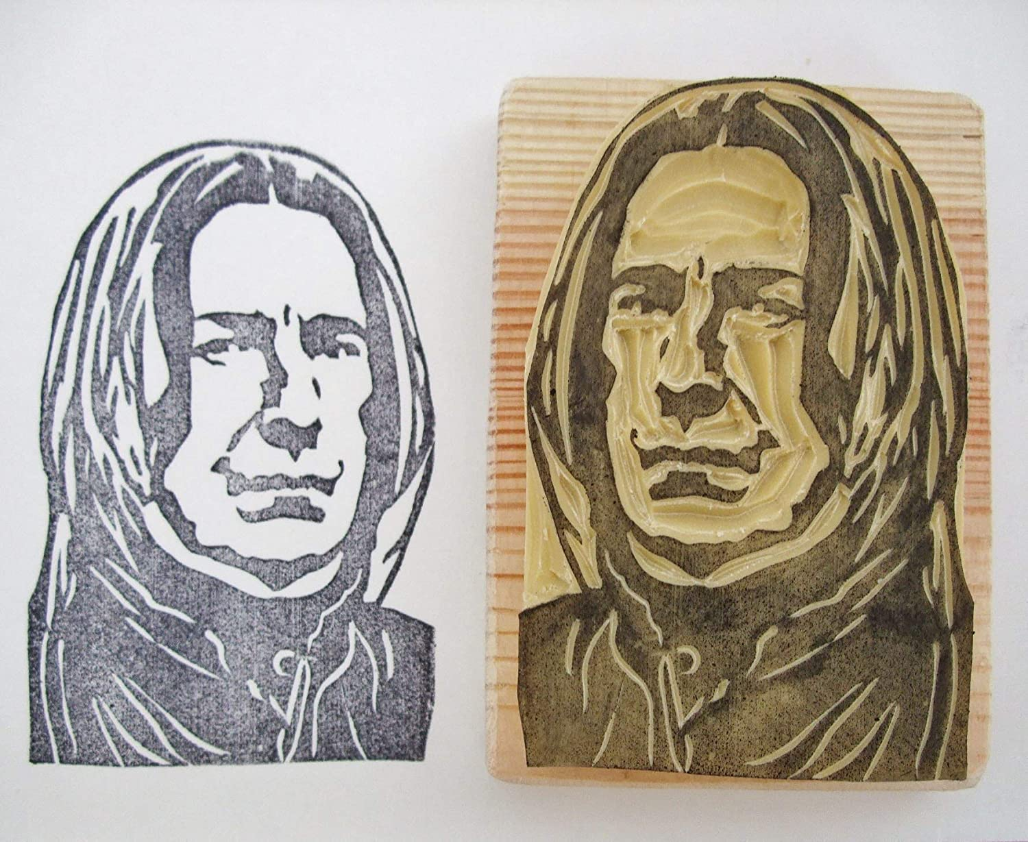 Snape from Harry Potter - Hand carved rubber stamp
