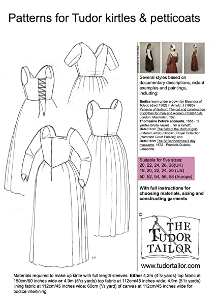 Pattern for Women's Tudor Kirtles and Petticoats - Small Sizes