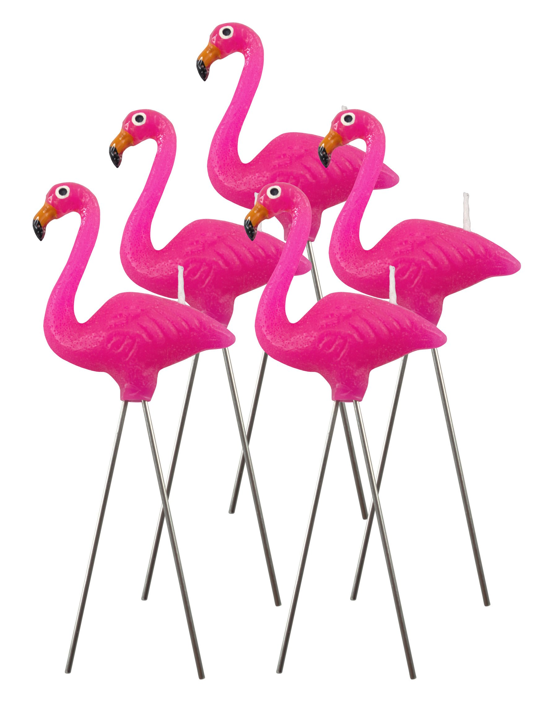 NuOp design : Pink Flamingo wax candles (5 piece set) great for birthdays and for decorations approx 4'' tall
