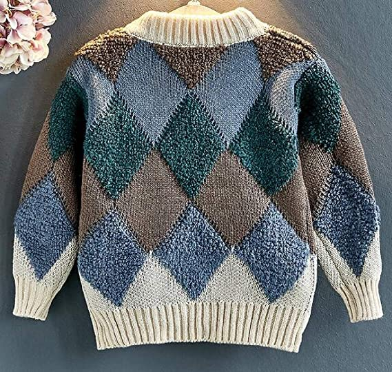 XiaoTianXinChildrenscostumes XTX Boy and Girl Cable Knit Jumper Round Neck Pullover Autumn Winter Sweater