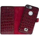 Solo Pelle iPhone 7 Plus abnehmbare Lederhülle (2in1) inkl. Kartenfächer für das original iPhone 7 Plus ( Kroko-Rot ) inkl. Edler Geschenkverpackung