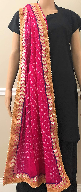 Tie and Dye faux silk dupatta stole Bandhej//bandhani dupatta with gota lace border//Magenta
