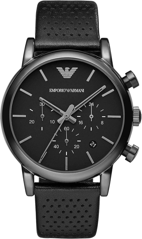 Emporio Armani Reloj Cronógrafo para Hombre de Cuarzo con Correa en Piel AR1737