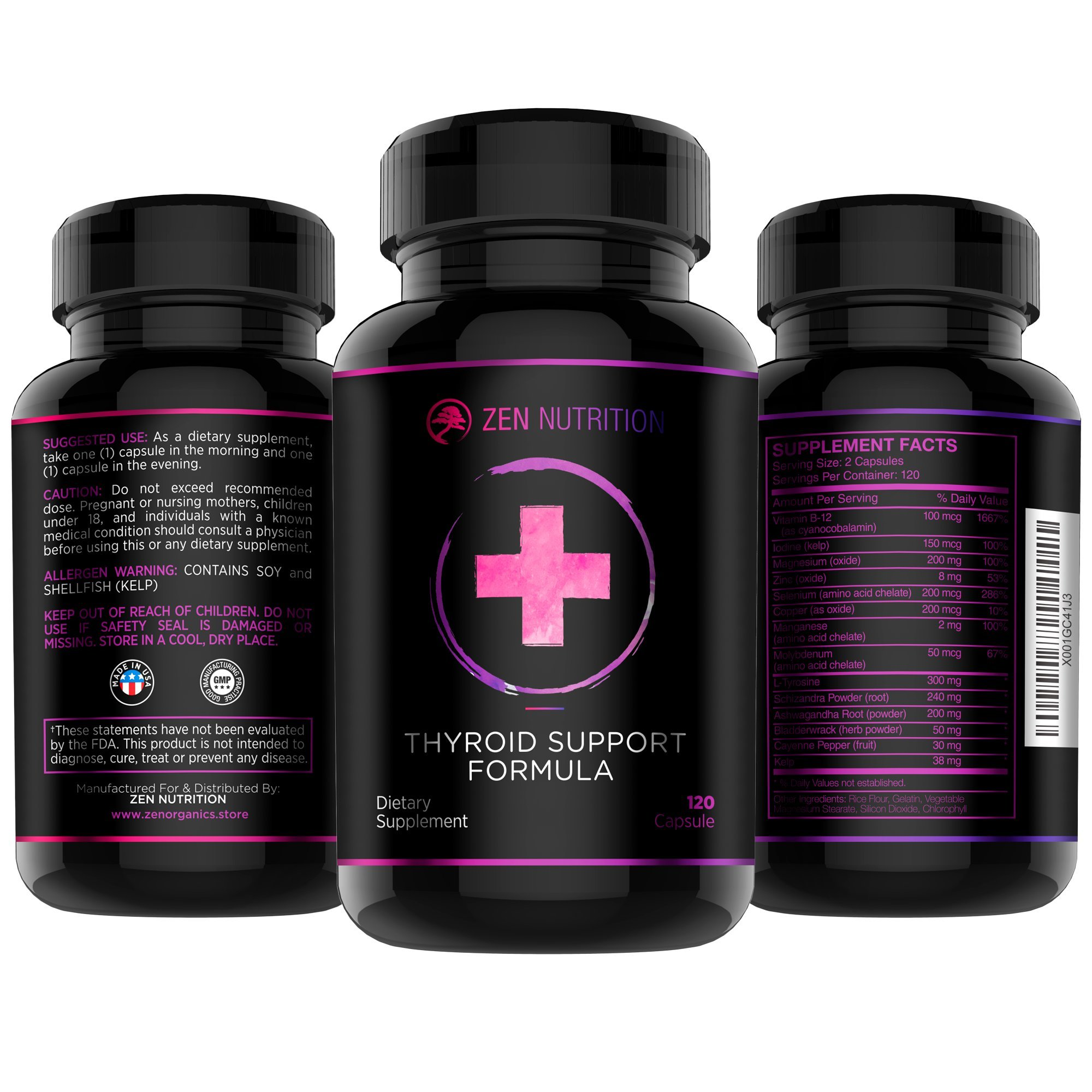 Thyroid Support Supplement   Unique Formula Forged for Focus, Energy and Metabolism   Vitamin B12 , Zinc, Ashwagandha, Iodine - Gluten Free, Made in the USA By Zen Nutrition