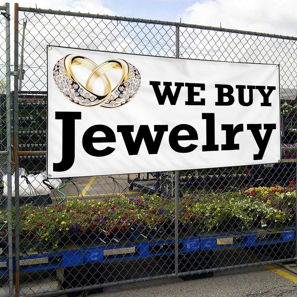 4 Grommets Vinyl Banner Sign We Buy Jewelry Business Style T Business Marketing Advertising White 24inx60in Multiple Sizes Available Set of 3