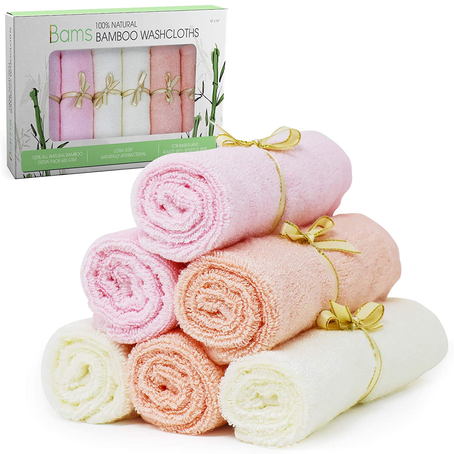 BAMS Luxury 100% Bamboo Baby Washcloths- 2X Thicker Extra Soft Face Wash Cloth Wipes Towels for Babies, Newborn, Infant, Adults with Sensitive Skin, Free Laundry Bag