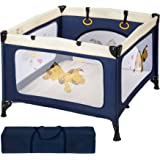 TecTake Portable Child Baby Infant Playpen Travel Cot Bed Crawl Play Area new blue