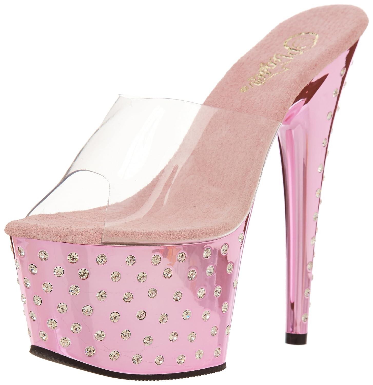 Pleaser Women's Stardust-701 Sandal B004JHKM0I 6 B(M) US|Clear/Pink