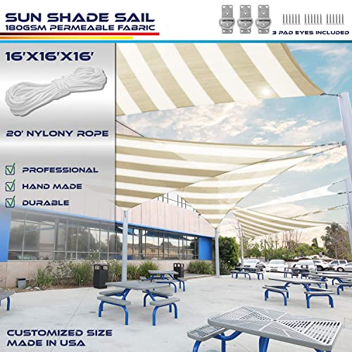 Windscreen4less 16 x 16 x 16 Sun Shade Sail UV Block Fabric Canopy in Beige White Wide Stripes Triangle for Patio Garden Patio 3 Pad Eyes Included Customized Sizes 3 Year Warranty