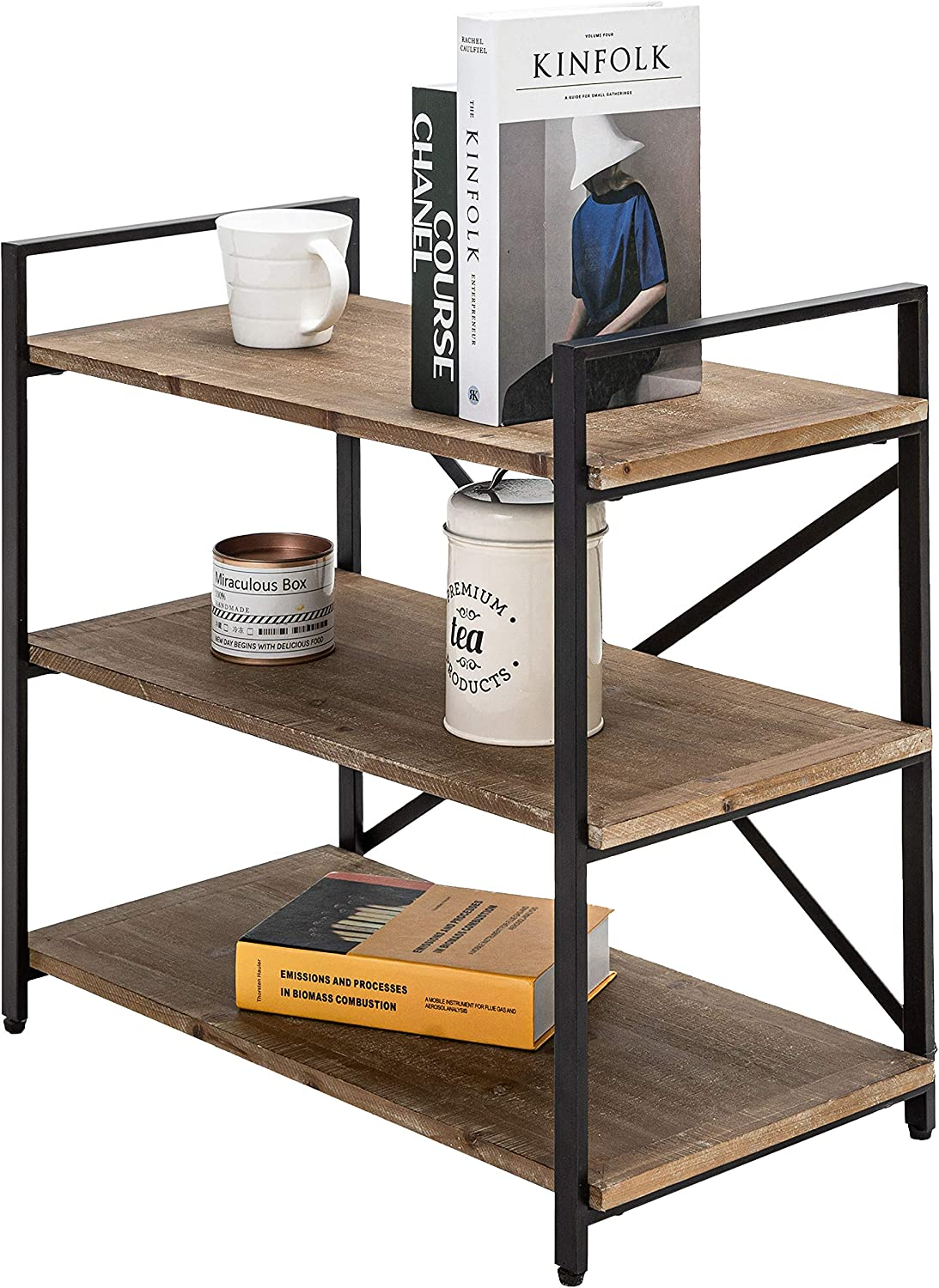 Bookcase Dark Brown Bookshelf 3 Tier Storage Rack Shelf for Office, Bathroom, Living Room