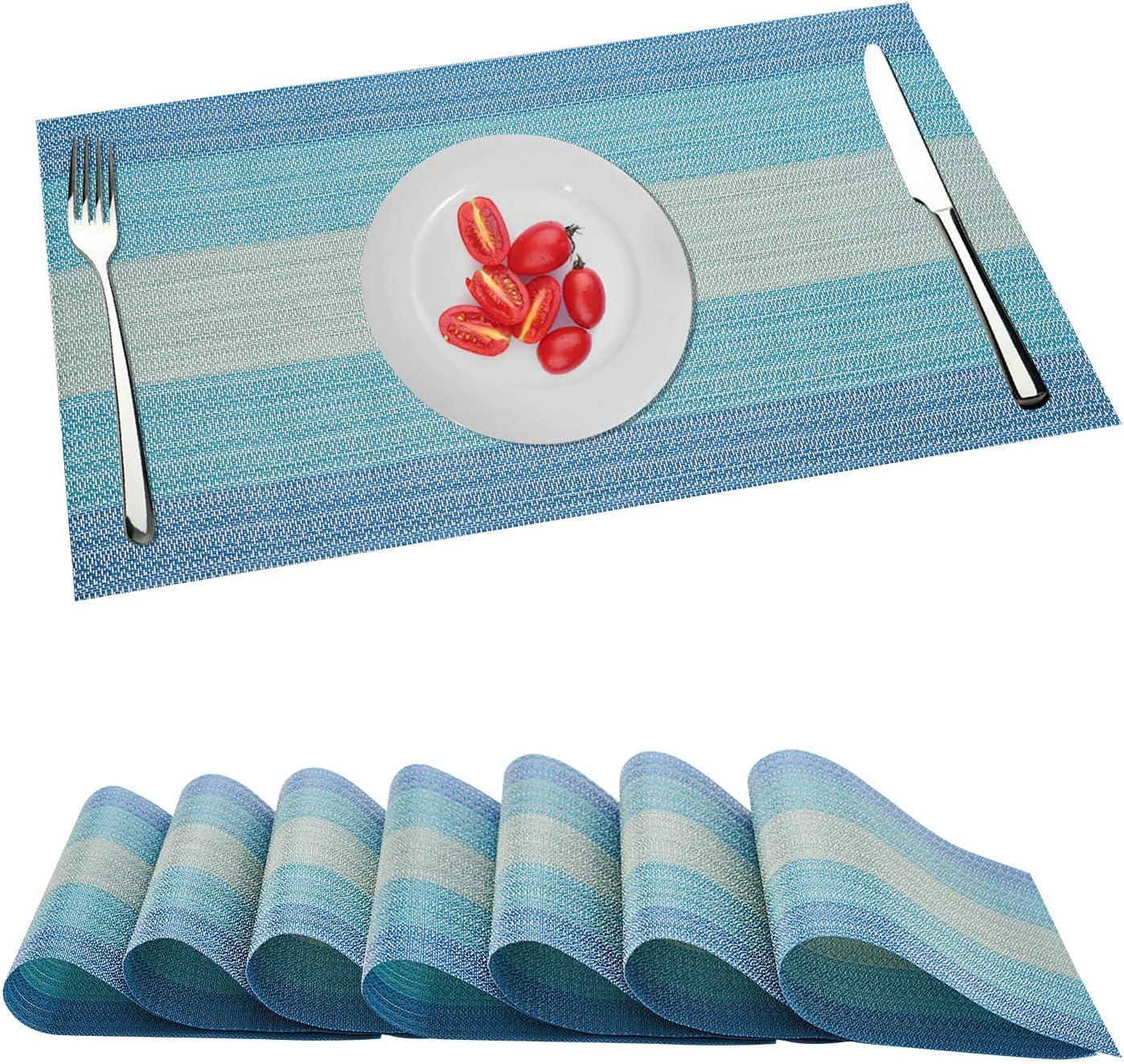 Juego de 8 manteles individuales, manteles de mesa lavables resistentes al calor, manteles individuales de PVC de vinilo tejido entrecruzado, posavasos para barbacoa de jardín al aire libre