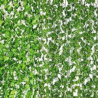 Homiest Artificial Ivy, 12 Strands 84 Ft Simulation Leaf Vine Artificial Evergreen Rattan Green Leaf Greenery Garland…