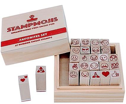 Emoji Stamps By Stampmojis 25 Favorite Emojis Rubber Stamp Set