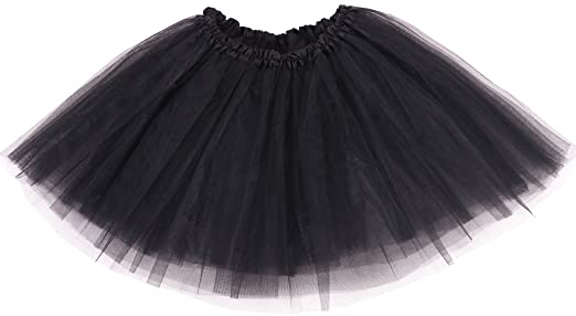 Simplicity Womens Classic Elastic 3 Layered Tulle Tutu Skirt Black One Size