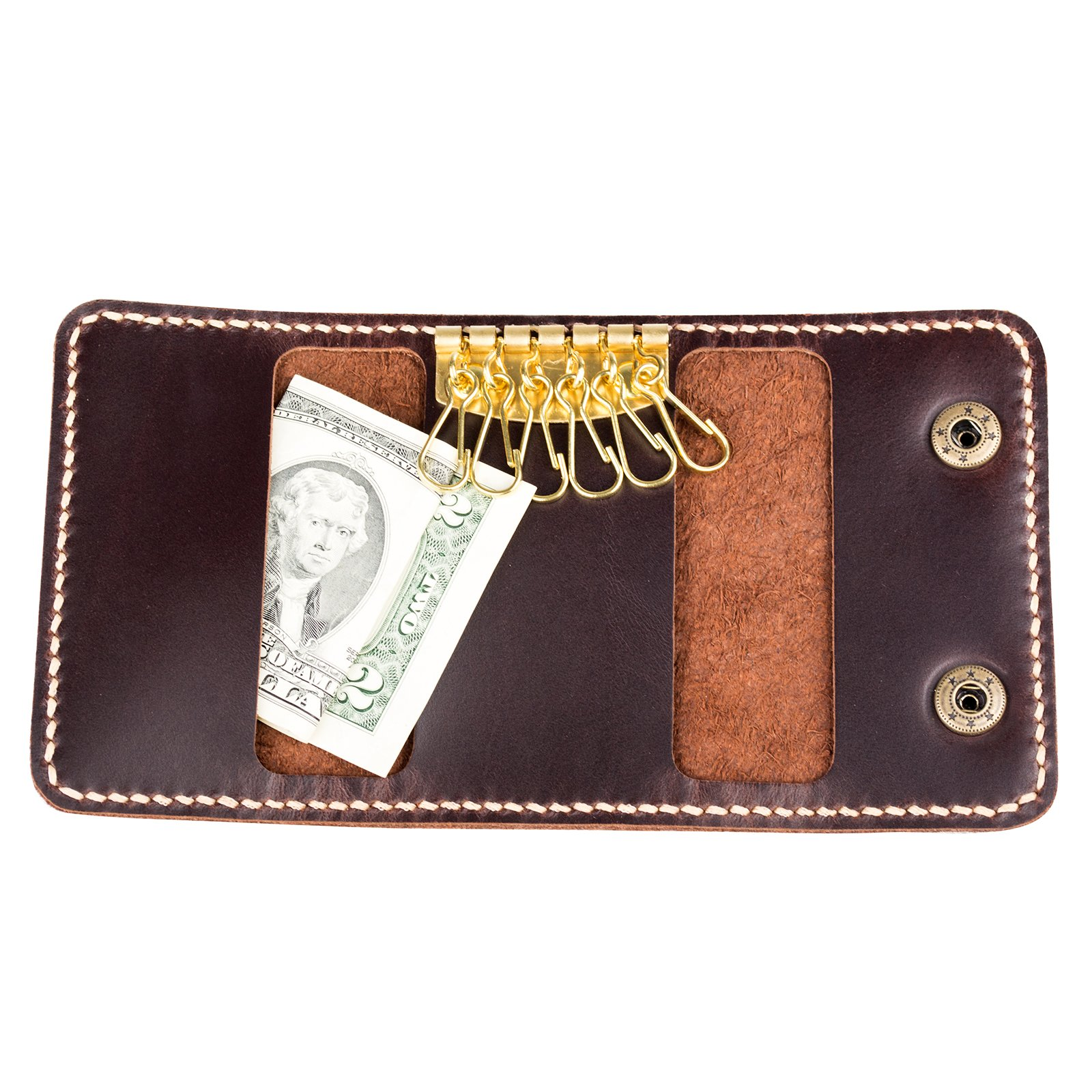 Mens High Quality Genuine Leather Handmade Keycase ID Card Case Wallet