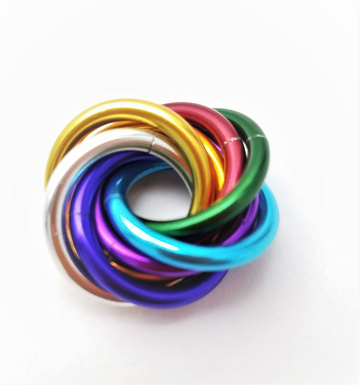 Half M/öbii Ultra Violet Small Mobius Hand Fidget Toy Shiny Stress Rings for Restless Hands Office Toy