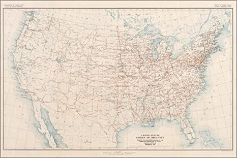 Amazoncom 24x36 Poster Map Of The Final Us Highway System As - Us-highway-80-map