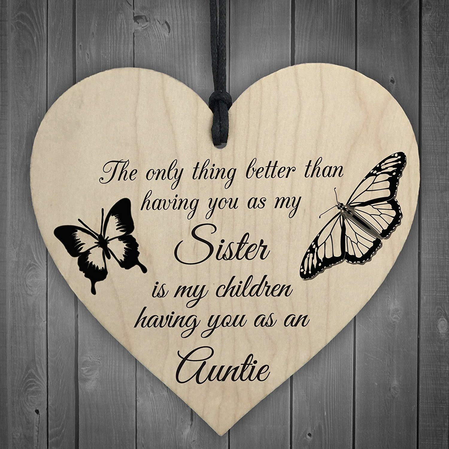 RED OCEAN My Children Having You As Their Auntie Love Gift Wooden Hanging Heart Aunt Sign