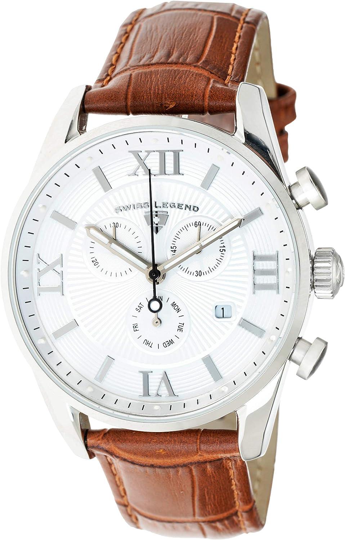 Swiss Legend Belleza 22011-02-BR - Reloj analógico de Cuarzo Suizo para Hombre, Esfera Blanca y Caja de Acero Inoxidable Plateada con Correa de Piel marrón