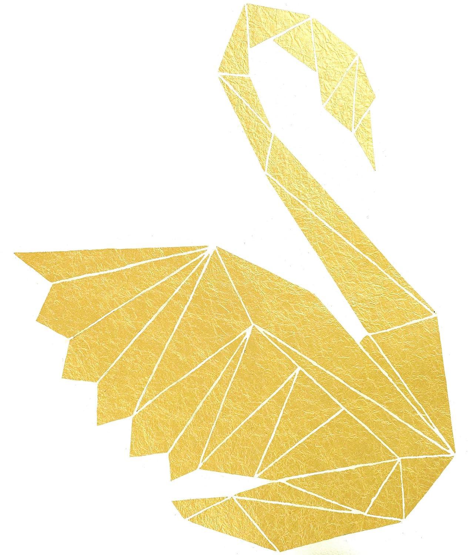 Amazon.com: Scandinavian Bird Painting, Gold Foil Origami ...