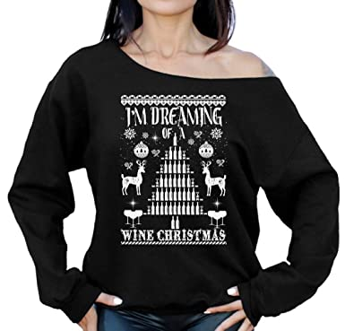 raxo dreaming of a wine christmas off the shoulder sweatshirt sweater ugly christmas sweatshirt off the shoulder top at amazon womens clothing store