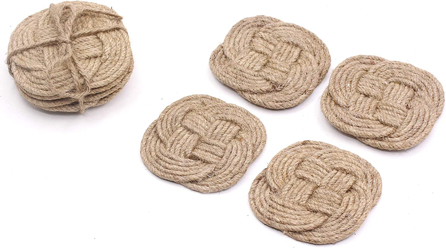 Roorkee Instruments India Four Jute Rope Coaster Set-Nautical Gift-Beach Decor