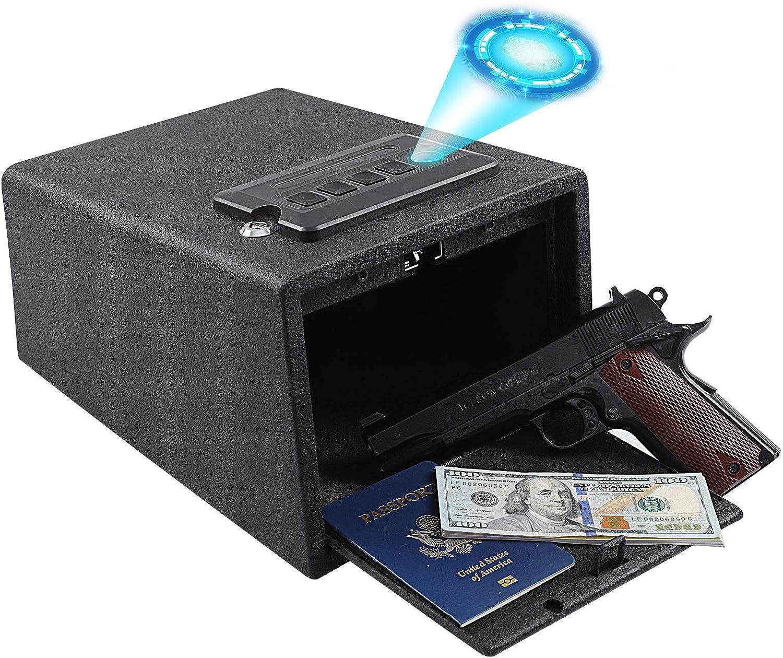 Dalmbox Biometric Gun Safe Gun Vault Fingerprint Pistol Safe Cabinet Quick AccessHandgun Lock Gun Lock Box for Home Car Bedside Nightstand H5.5