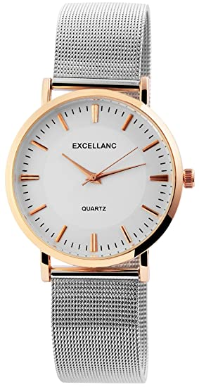Reloj mujer Blanco Plata Rosè Oro Mesch banda analógico metal Reloj de pulsera: Amazon.es: Relojes