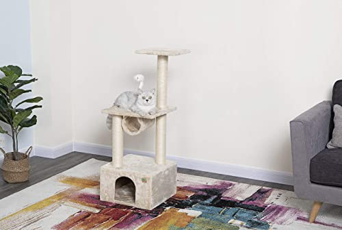 Go Pet Club Beige Cat Tree Condo with Sisal Scratching Post F27
