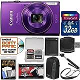 Canon PowerShot Elph 360 HS Wi-Fi Digital Camera (Purple) with 32GB Card + Case + Battery + Selfie Stick + Sling Strap + Kit