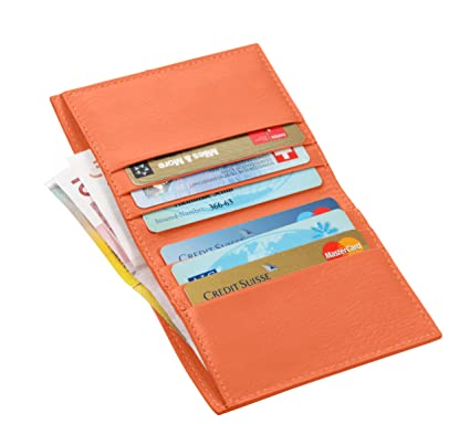 Lucrin Porte Carte de Crédit Porte Feuille pour Billet Cuir Vachette Lisse  Orange PM1192 VCLS ORG 6af3de22bac
