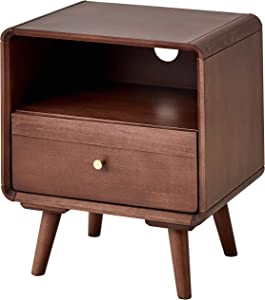 ESPSENT Nightstand with Drawer, Storage Compartment & Cable Hole, Natural Wood Sofa Side End Table Bedside Night Stand with 4 Legs