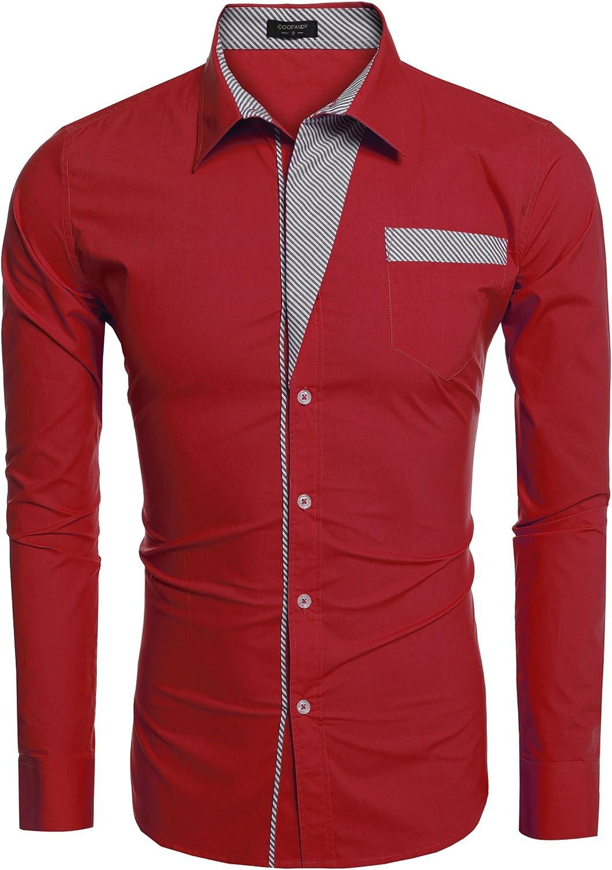 Coofandy Camisas informales de manga larga para hombre con estampado de rayas: Amazon.es: Ropa y accesorios