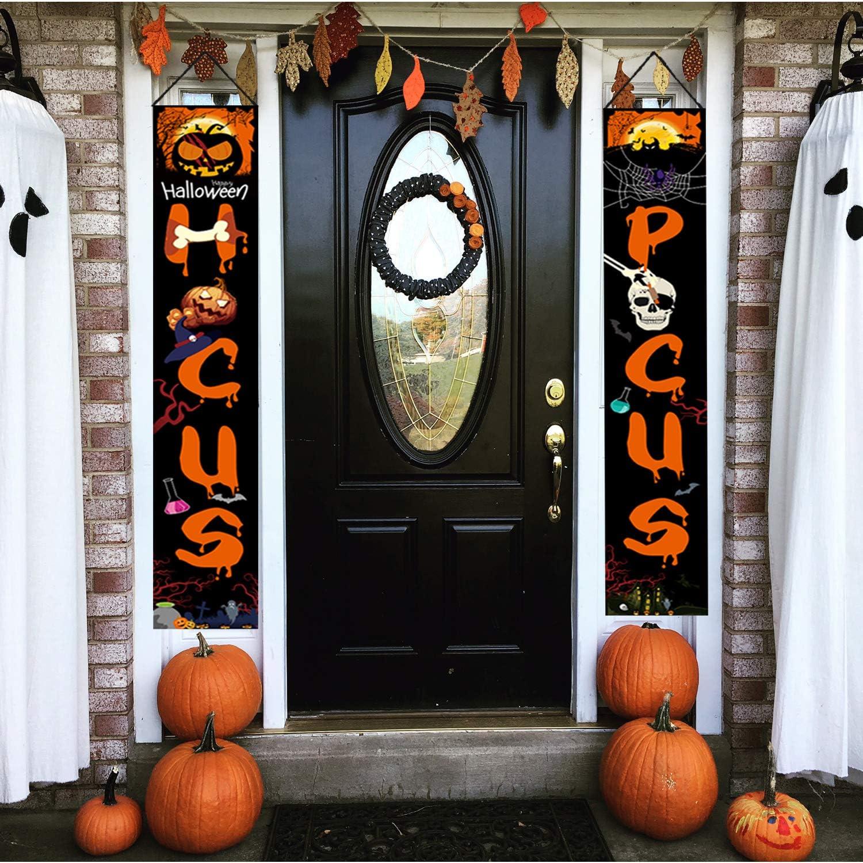 Halloween Outdoor Decorations, Halloween Porch Banner for Front Door or Indoor Halloween Hanging Signs Decor Halloween Welcome Banner 2 PCS - Hocus Pocus Sign Set