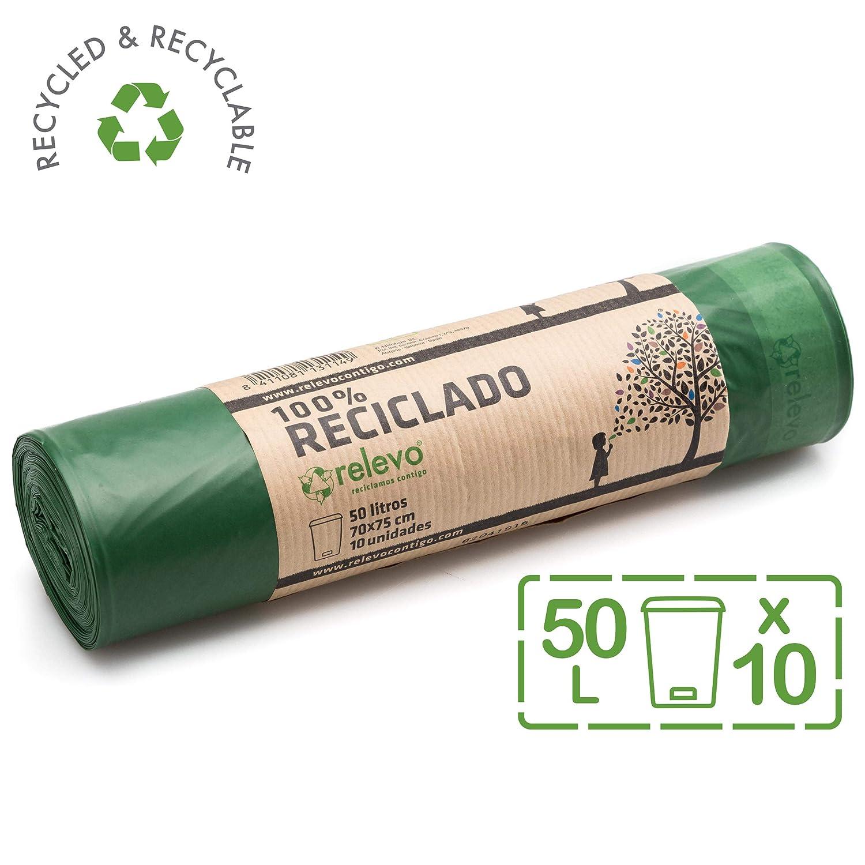 Relevo Sacchetti Spazzatura 100/% riciclati 30 Litri 15 unit/à