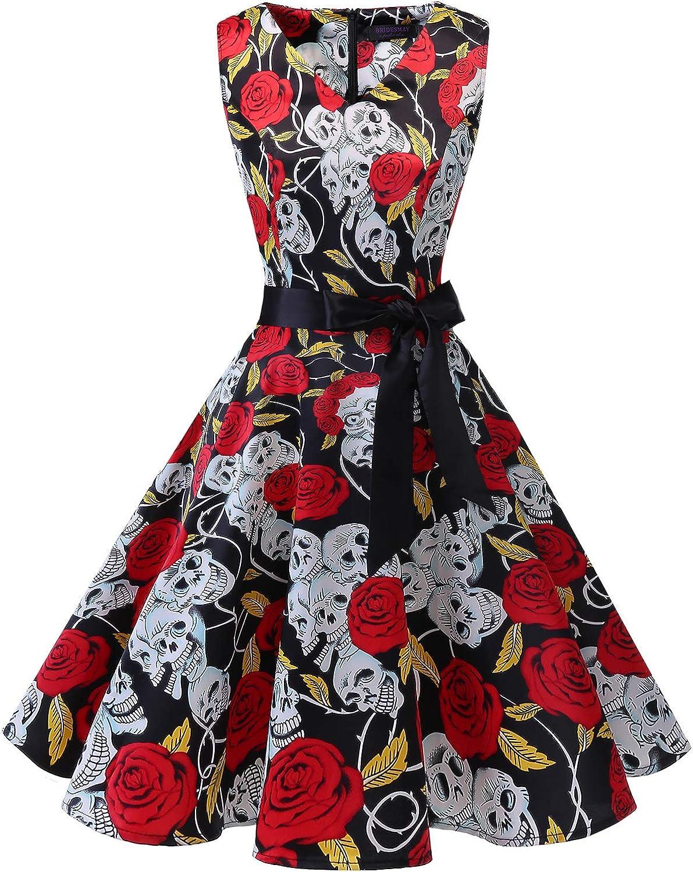 TALLA L. Bridesmay Vestido de Cóctel Fiesta Mujer Verano Años 50 Vintage Rockabilly Sin Mangas Pin Up Black Skull L