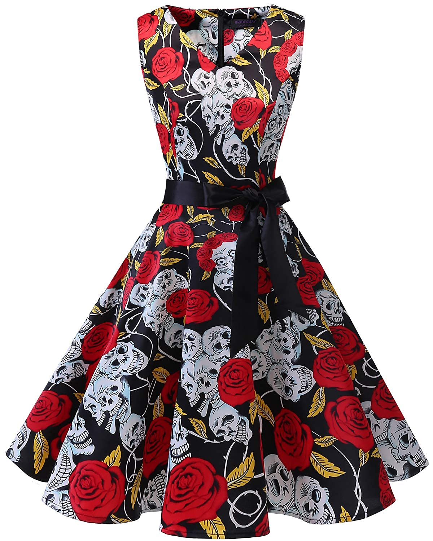 TALLA 3XL. Bridesmay Vestido de Cóctel Fiesta Mujer Verano Años 50 Vintage Rockabilly Sin Mangas Pin Up Black Skull 3XL