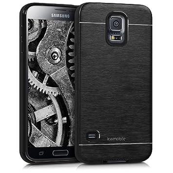 kwmobile Funda para Samsung Galaxy S5 / S5 Neo - Carcasa de [Aluminio] para teléfono móvil - Case [Suave] en [Negro]