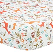 TILLYOU Microfiber Crib Sheet Fox & Deer, Silky Soft Toddler Sheets for Baby Boys and Girls, Lovely Breathable Cozy Hypoallergenic, 28 x 52in Curled Branch & Animals