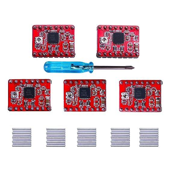 ELEGOO A4988 Controlador de Motor Paso a Paso, 5pcs Ramps1.4 A4988 Controlador de Motor Paso a Paso con Disipador de Calor para la Lmpresora 3D